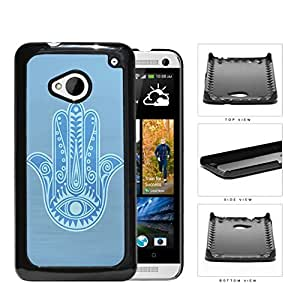 Baby Blue Hamsa Palm With All-Seeing Eye Hard Plastic Snap On Cell Phone Case HTC One M7