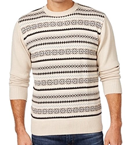 Weatherproof Mens Medium Crewneck Fair Isle Sweater Beige M - Fair Isle Crewneck Sweater