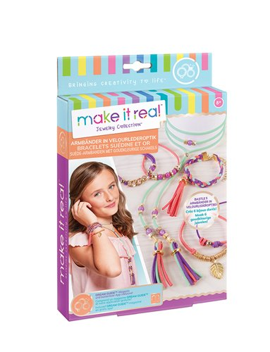 Gold Link Suede Bracelets Arts and Crafts Kit to Design and Create Unique Tween Jewelry with Faux Suede Beads Gold Pieces /& Charms 1207 Make It Real DIY Suede Bracelet /& Choker Making Kit for Girls