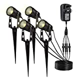 LED Garden Lights, GreenClick Upgraded 4 Pack IP65 Waterproof 3W COB Spike Landscape Lighting with UL Adapter, 12V Safe Voltage Aluminum Decorative Outdoor Spotlights for Lawn Pathway (Warm White)