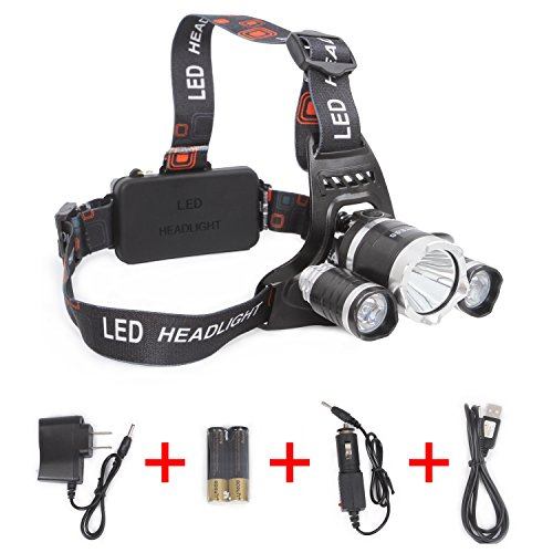Lightess LED Headlamp with Cree T6 5000 Lumens RJ-3000 Head Lamp, Silver Head