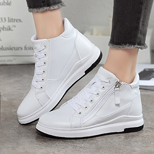 Zipper Boots LILY999 up Women Lace Top Trainers Heel Sneakers White High Girls Hidden Side Platforms Wedge 6Pqw7O6r