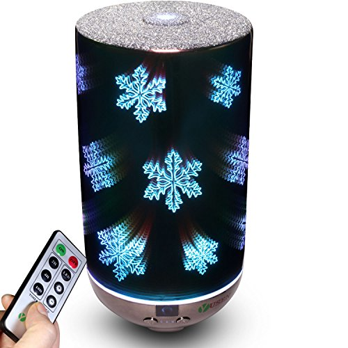 Yusen Essential Oil Aromatherapy Diffuser Remote 200ML Ultrasonic Fragrant Oil Vaporizer Humidifier, Timer and Auto-Off Safety Switch, 7 LED Light Colors(Snowflakes)