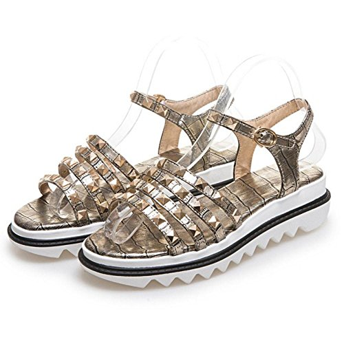 Moda Donna JOJONUNU Aperta Gold Punta Sandali d0ad5nqOR