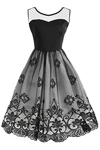 Babyonlinedress Women Vintage Floral Lace Open Back A-Line Pleated Cocktail Party Dress(Black,M)