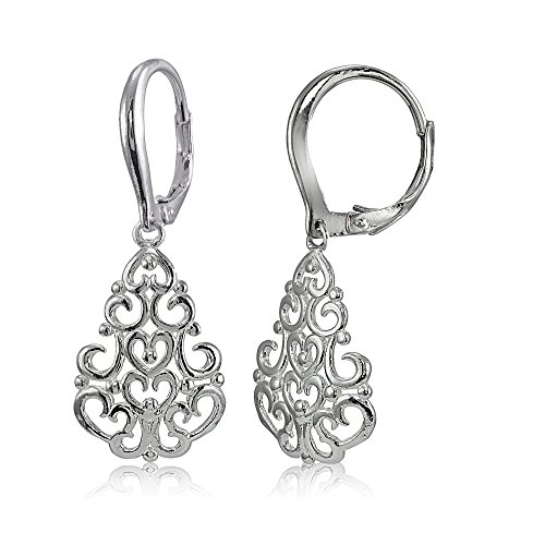 Sterling Silver High Polished Chandelier Filigree Dangle Leverback ()