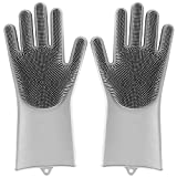 Lorima Magic Silicone Gloves with Wash Scrubber, Reusable Brush Heat Resistant Gloves for Cleaning, Dish Washing, Washing The Car, Pet Hair Care