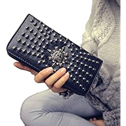 2017 New Fashion Lady Women Leather Clutch Wallet Long Card Punk Rivet Wallet (Black)