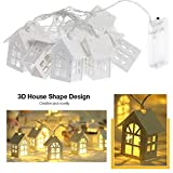 White House String Lights, 5Ft 10Pcs Warm Light Battery Operated Fairy House LED Light Strings Rope Wedding Party Halloween Christmas Tree Ornaments For Garden Patio Indoor Home Wall Curtain Girl Bedr