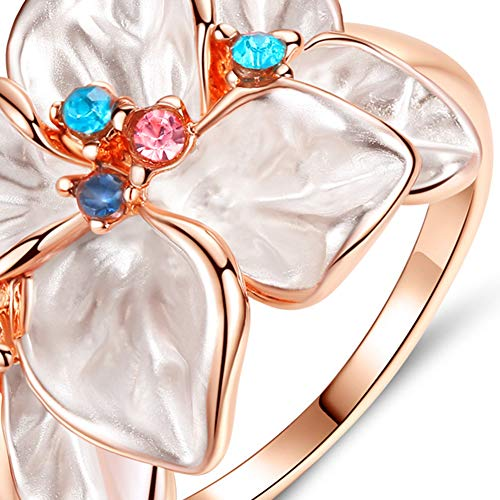 Slendima Petal Shape Faux Crystal Ring Women Cocktail Party Banquet Fashion Jewelry Gift Rose Gold US 9 by Slendima (Image #2)