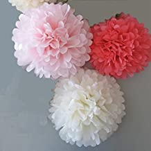 Somnr Set of 6 White Coral Blush Pink Tissue Paper Pompoms Wedding Birthday Bridal Shower Party Hanging Decoration by Somnr by Somnr