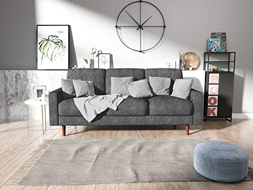 US Pride Furniture Obadiah Sofa, Grey - Wooden legs Removable back cushions Velvet upholstery material - sofas-couches, living-room-furniture, living-room - 51VxNaqcCcL -