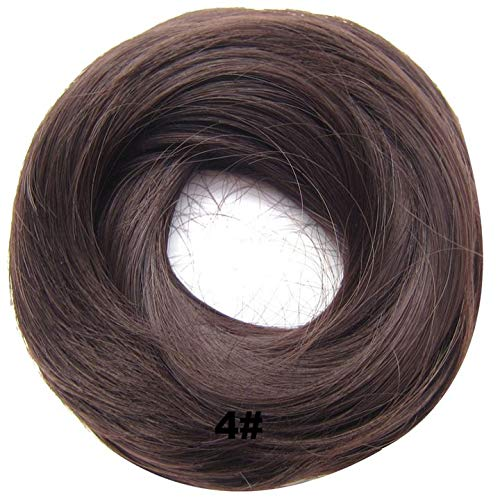 PrettyWit Hairpieces Short Curly Hair Extension Messy Bun Updo Chignons Piece Wig Scrunchy BridalMedium Brown 4