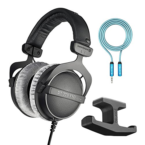 Pro Dt 770 Headphones (Beyerdynamic DT 770 PRO 250 Ohm Closed Dynamic Headphones -INCLUDES- Blucoil Audio 6-Ft Extension Cable AND Stick-On Under Desk Dual Headphone Stand Mount)