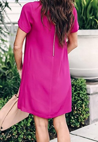 Fit Color Sexy Short Cocktail Women Zipper Solid Sleeve Coolred Red Slim Dress qZ8pxB