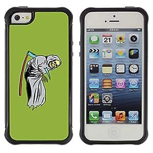 Be-Star único patrón Impacto Shock - Absorción y Anti-Arañazos Funda Carcasa Case Bumper Para Apple iPhone 5C ( Green Funny Grim Reaper Scythe Skull )