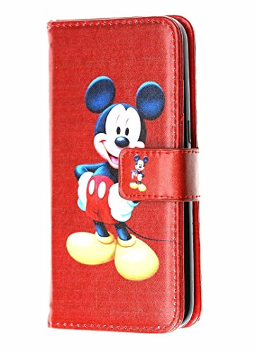 iPhone SE Case Wallet, DURARMOR Vintage Red Mickey Mouse Premium PU Leather Folio Wallet Case with ID Credit Card Cash Slots Flip Stand Wrist Strap Cover Case for iPhone SE 5s 5 Red Mickey Mouse