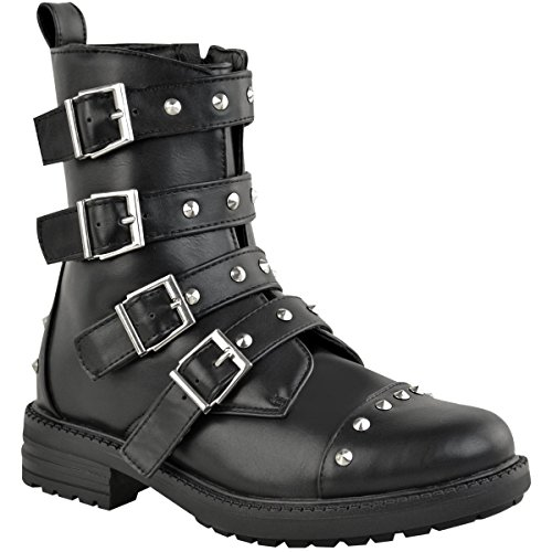 Fashion Thirsty Womens Studded Flat Ankle Boots Buckle Chunky Biker Punk Shoes Size