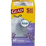 Glad OdorShield Tall Kitchen Drawstring Trash Bags Gtbckj, Lavender Breeze, 40 Count