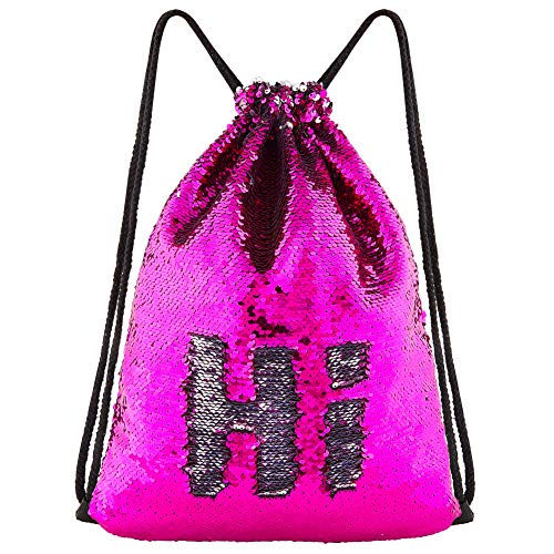 (ICOSY Mermaid Sequin Bag Magic Reversible Sequin Drawstring Backpack Glitter Dance Bags Flip Sequins Backpack Bags Shining Sports Backpack for Kids Adults (Fuchsia/Silver, 13.8