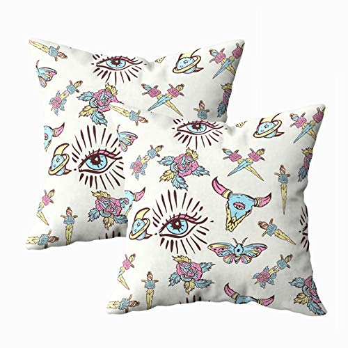 Capsceoll Bed Pillow Covers, Color Tattoo Pattern Bull Rose Knife Butterfly Moon Sacred Geometry 18x18 Pillow Covers,Home Decoration Pillow Cases Zippered Covers Cushion for Sofa Couch