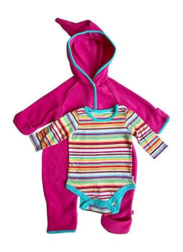 Fold Gloves Over Fleece (Baby Girl Hooded Fleece Bodysuit Elf Romper with Fold Over Cuffs & Long Sleeve Snap Onesie Set (Fuschia, 12 Months))