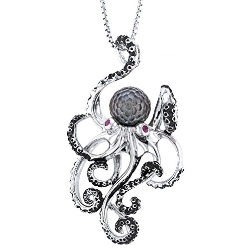 (Galatea Sterling Silver Hawaii Octopus Carved Cultured Pearl Pendant Necklace,)