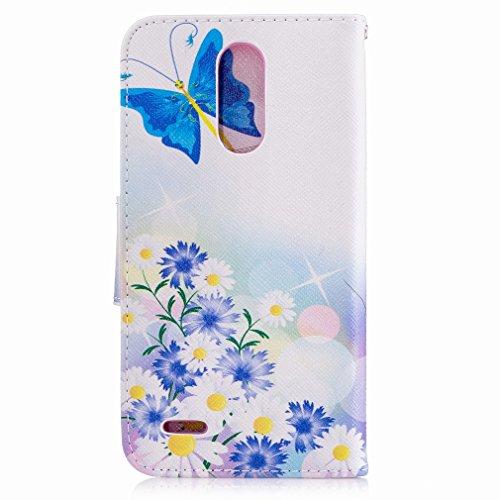Yiizy LG K10 (2017) / LG X400 / LG M250N Custodia Cover, Farfalla Blu Design Sottile Flip Portafoglio PU Pelle Cuoio Copertura Shell Case Slot Schede Cavalletto Stile Libro Bumper Protettivo Borsa