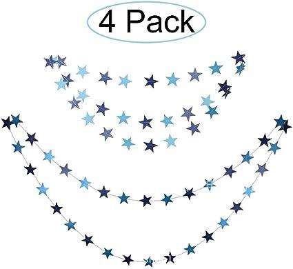 Amazon.com: Juego de 4 guirnaldas de papel de estrella ...