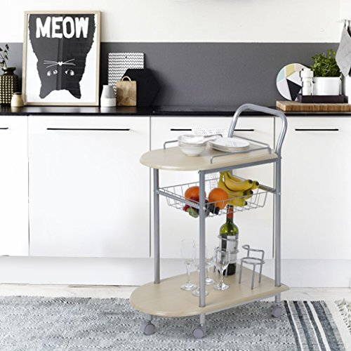 Serving Cart FurnitureR Rolling Durable Mobile Metal Kitchen Trolley Cart Dining Storage Stand Bar Tea Wine Holder Serving Kitchen Cart Portable Home Indoor Food Cocktail Living Room by FurnitureR