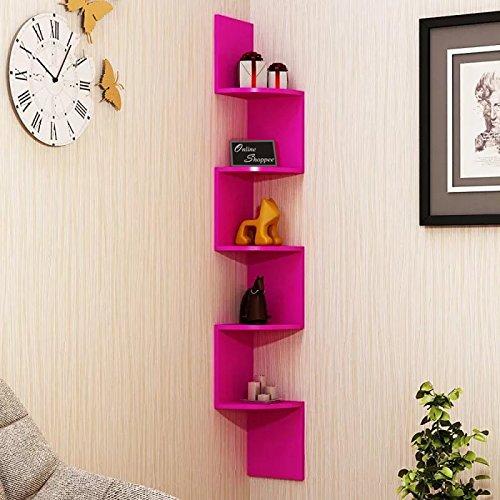 Onlineshoppee Wooden Fancy Zigzag Wall Mount Floating Corner Wall Shelf