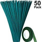 Maitys Green Wood Plant Stake Floral Plant Support Wooden Bamboo Stake Natural Craft Picks with 25 Yard Dark Green Flower Paper Tape (35 cm, 50 Pieces)