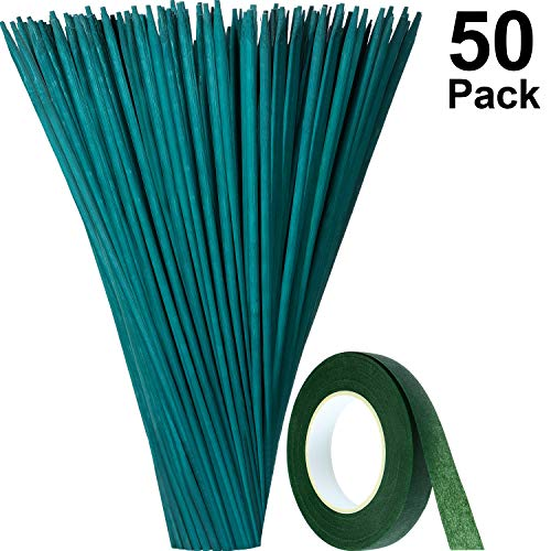 Maitys Green Wood Plant Stake Floral Plant Support Wooden Bamboo Stake Natural Craft Picks with 25 Yard Dark Green Flower Paper Tape (35 cm, 50 Pieces) (35 Cm Natural)