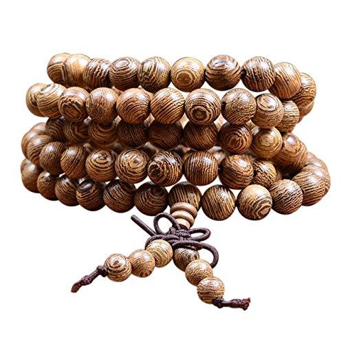 Tibetisches Armband ⭐⭐⭐⭐⭐ Holzarmband buddhistische Gebetskette Buddha Armband Mala mit 108 Holzperlen Perlenarmband ecom delivery