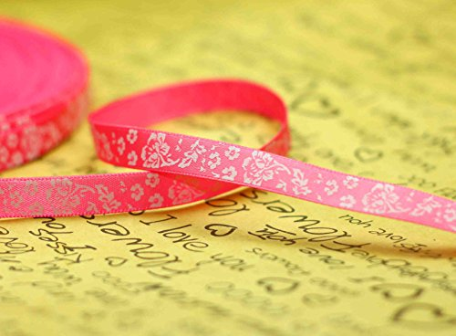Christmas Halloween Ribbon Printing Polyester Texture Roll Ribbon Bow with Ribbon Lot (10mm) 1pcs (20Yards/10mm, Rose Red)