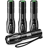 Pack of 4 Tactical Flashlights, BYBLIGHT 800 Lumen Ultra Bright XML-T6 LED Flashlight with 5 Modes, Zoomable, Waterproof, Handheld Small Flashlight for Outdoor Camping, Fishing and Hunting (Black)