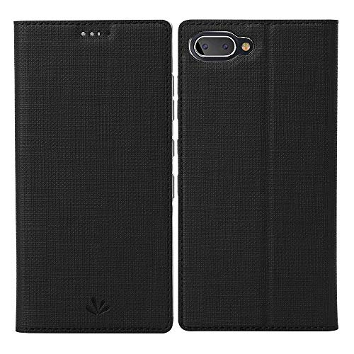 BlackBerry Key2 LE Case, Redluckstar Leather Wallet Case Flip Magnetic Cover Card Slot Holder View Stand Clear TPU Silicone Rubber Bumper Shockproof Thin Folio Case for BlackBerry Key2 LE (Black)