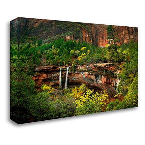 Cascades Tumbling 110 feet at Emerald Pools, Zion National Park, Utah 37x28 Gallery Wrapped Stretched Canvas Art by Fitzharris, Tim ()