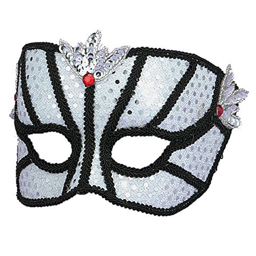 White Sequin Eye Mask Masquerade Mask Face Mask Theatre Costumes Accessory Sizes: One Size