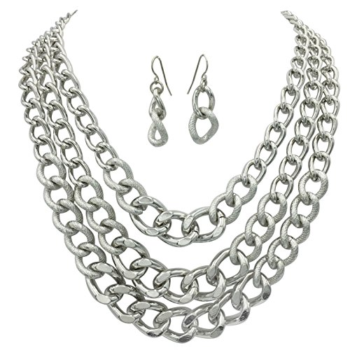 Silver Link Necklace - Layered Chain Statement Silver Tone Boutique Necklace & Earrings Set (3 Row)