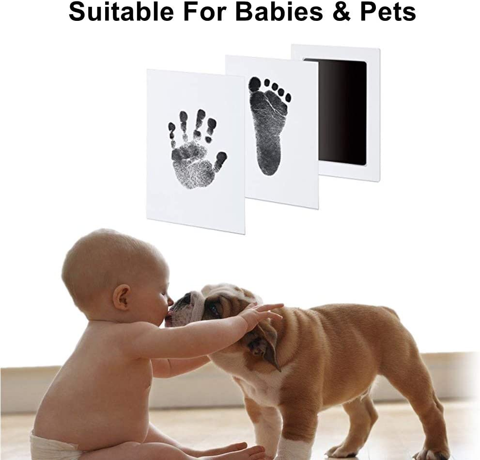 """Black 100/% Non-Toxic /& Mess Free Safe for Newborn Baby and Toddlers 3 in 1 Large Safe Inkless/""""Clean-Touch/""""Handprint and Footprint Ink Pad with Imprint Cards"""