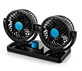 mini fan dc - AboveTEK 12V DC Electric Car Fan - Rotatable 2 Speed Dual Blade with 9FT Cord - Quiet Strong Dashboard Cooling Fan for Sedan SUV RV Boat Auto Vehicles - Effectively Blow Out Hot Air, Smoke, Odors