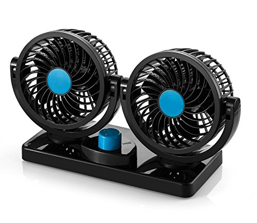 (AboveTEK 12V DC Electric Car Fan - Rotatable 2 Speed Dual Blade with 9FT Cord - Quiet Strong Dashboard Cooling Fan for Sedan SUV RV Boat Auto Vehicles - Effectively Blow Out Hot Air, Smoke, Odors)