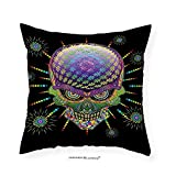VROSELV Custom Cotton Linen Pillowcase Psychedelic Digital Mexican Sugar Skull Festive Ceremony Halloween with Ornate Effects Design for Bedroom Living Room Dorm Multi 20''x20''