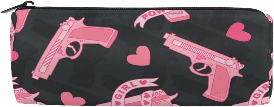 Estuche para lápices de color rosa con diseño de pistola y amor para niños, niñas, estudiantes, bolígrafos, bolsas, bolsa de maquillaje redonda: Amazon.es: Oficina y papelería