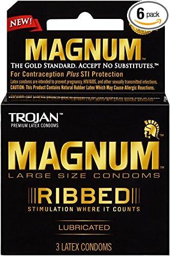 Amazoncom Trojan Magnum Ribbed Lubricated Condoms 3 Count Pack