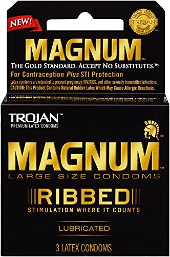 Trojan Magnum Ribbed Lubricated Condoms, 3 Count (Pack oof 6)