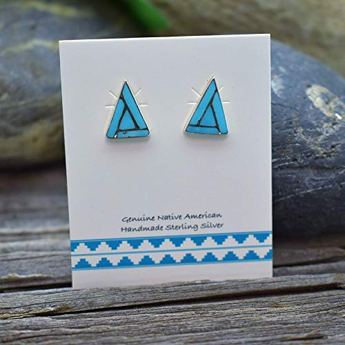 - 11mm Genuine Sleeping Beauty Turquoise Stud Earrings in 925 Sterling Silver, Inlay Triangle Design, Authentic Native American, Handmade in the USA, Nickle Free