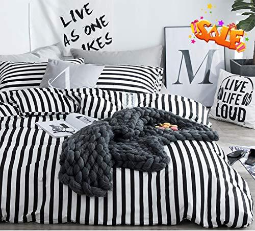 karever Black White Striped Duvet Cover Queen Vertical Ticking Stripe Bedding Full 3 PCs Cotton Comforter Cover Set for Boys Girls (White Bed Spreads And Black)