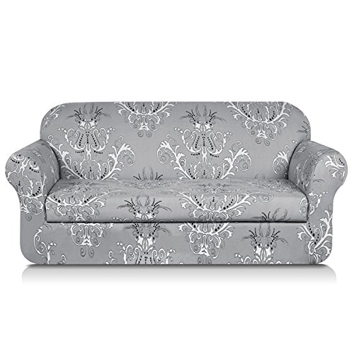 - TIKAMI 2-Piece Spandex Printed Fit Stretch Sofa Slipcovers (Sofa, Gray)